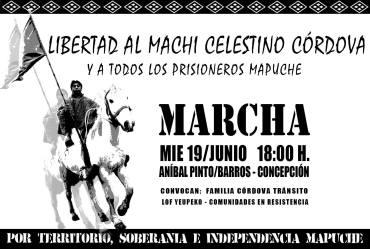 Movilización nacional por el machi Celestino Córdoba este miércoles 19 de Junio